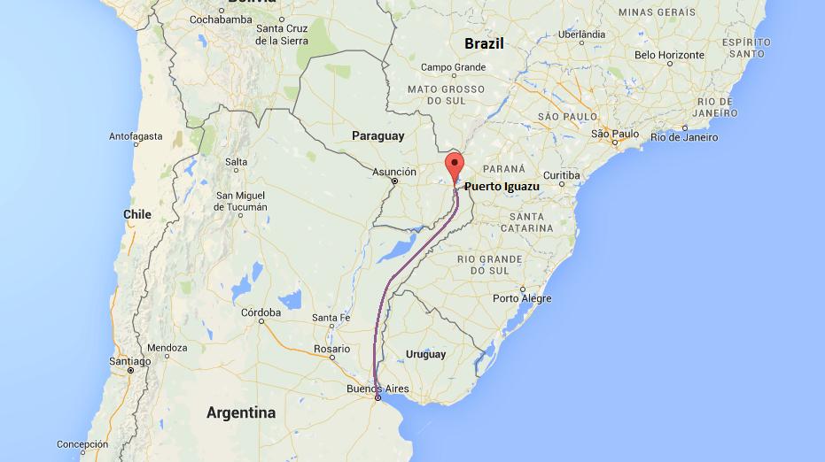 Trajet Puerto Iguazu